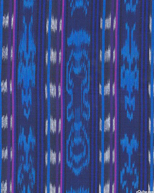 """Guatemalan Yarn-Dye - Rio Dulce Ikat Stripe - Dk Blue - 34"""" WIDE"""