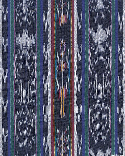 "Guatemalan Yarn-Dye - Mayan Abstract Ikat - Black - 34"""