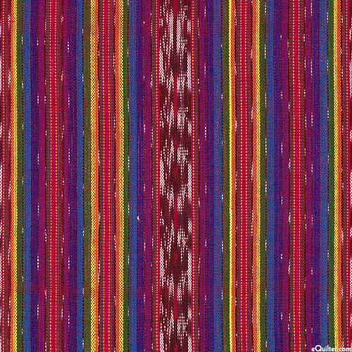 """Guatemalan Yarn-Dye - Dawn Ikat Stripe - Violet - 34"""" WIDE"""