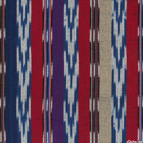 """Guatemalan Yarn-Dye - Midnight Reveal Stripe - Navy - 34"""" WIDE"""
