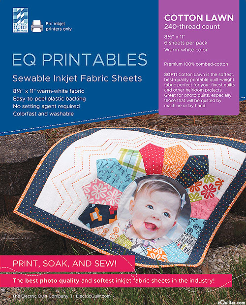 EQ Printables Inkjet Fabric Sheets - White - COTTON LAWN