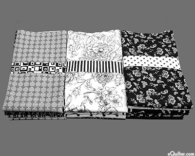 Booty Pack - eQuilter BLACK & WHITE PRINTS Assorted Scraps