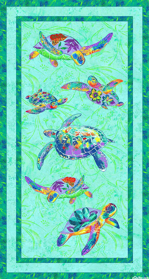 "Calypso Turtles - Tropical Tides - Lt Blue - 24"" x 44"" PANEL"