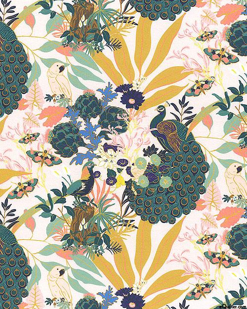 Tropical Dynasty - Peacock Main - Teal/White