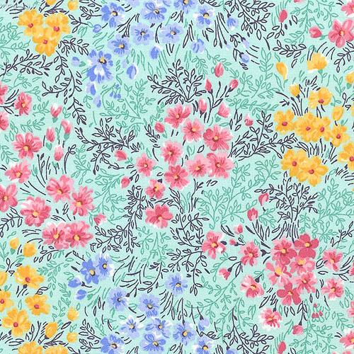 Busy Garden - Vibrant Florals - Seafoam