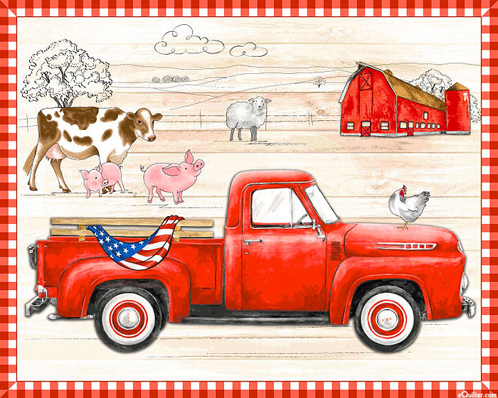 "Creation Station - Red Truck Ranch - Natural - 36"" x 44"" PANEL"