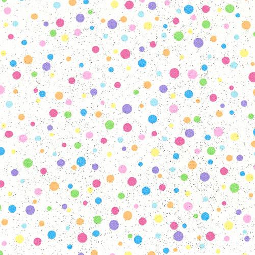 Pastel Dots - Rainbow Candy - White/Glitter