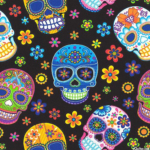 Sugar Skulls & Flowers - Black