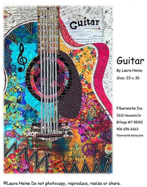 Guitar - Collage Pattern by Laura Heine