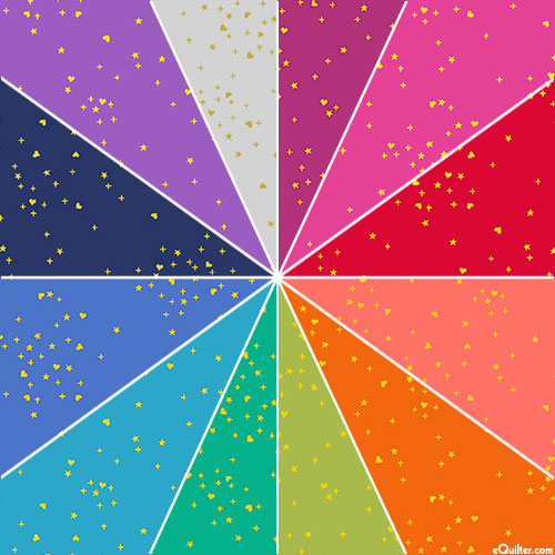 Rainbow Shimmer - Hearts PLUS Stars - Solid/Gold