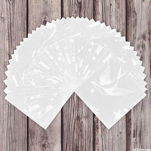 "Tula Pink Fairy Flakes - White - 5"" Charms"