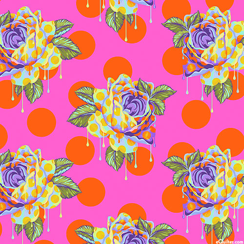 Curiouser & Curiouser - Painted Roses - Hot Pink