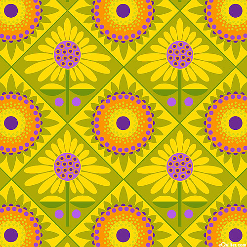 Sassy Summer Salsa - Mexican Tiles - Olive Green
