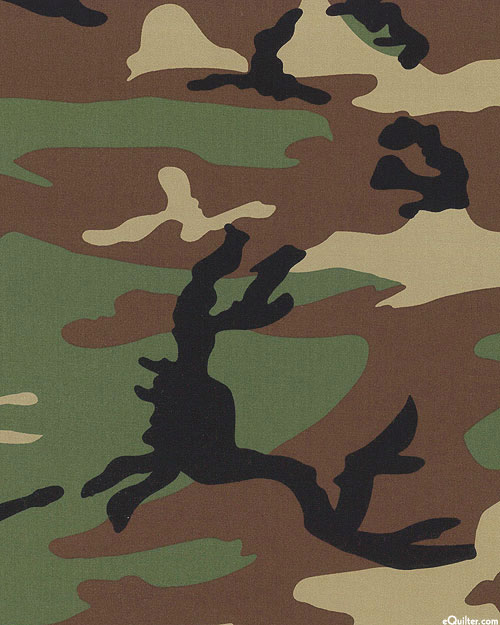 """Woodland Camo - Cotton RIPSTOP - Army Green - 64"""" WIDE"""