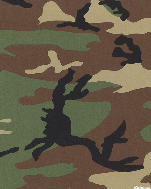 "Woodland Camo - Cotton TWILL - Army Green - 64"" WIDE"