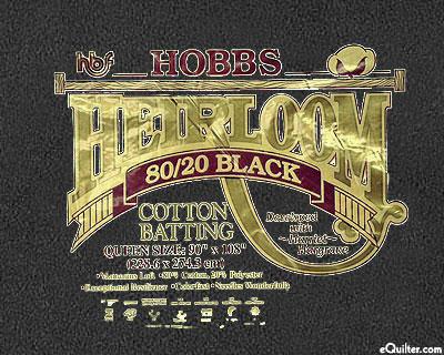 "Hobbs Heirloom Batting - BLACK - 80% Cotton/20% Poly - 108"" Wide"