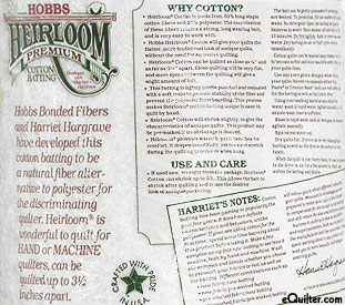 "Hobbs Heirloom Premium Batting - 100% Bleached Cotton - 96"" Wide"