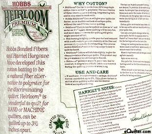 "Hobbs Heirloom Premium Batting - 80% Cotton/20% Poly - 96"" Wide"