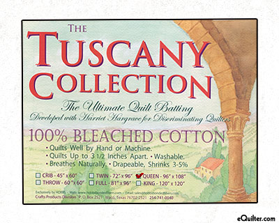 """Hobbs Tuscany Batting - 100% Bleached Cotton - Queen 96"""" x 108"""""""