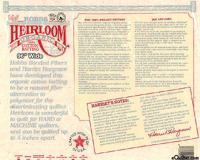"Hobbs Heirloom Batting - 100% Organic Cotton - 96"" Wide"