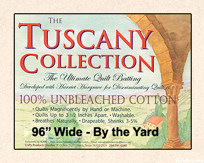 """Hobbs Tuscany Batting - 100% Unbleached Cotton - 96"""" Wide"""