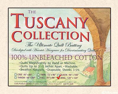 "Hobbs Tuscany Batting - 100% Unbleached Cotton - King 120"" x120"""
