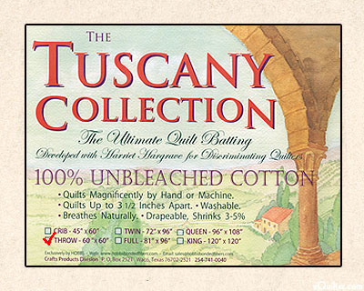 "Hobbs Tuscany Batting - 100% Unbleached Cotton - Throw 60"" x 60"""