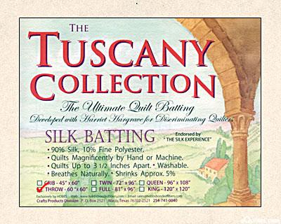 "Hobbs Tuscany Batting - 90% Silk/10% Poly - Throw 60"" x 60"""
