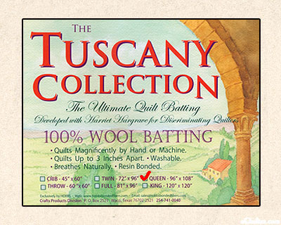 "Hobbs Tuscany Batting - 100% Wool - Queen 96"" x 108"""