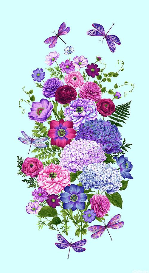 "Dragonfly Garden - Bountiful Bouquet - 24"" x 44"" PANEL"