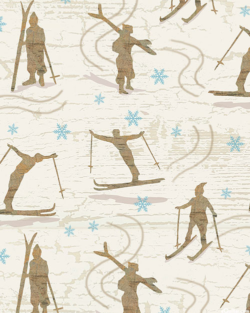 Pine Cone Lodge - Ski Bums - Ivory - FLANNEL