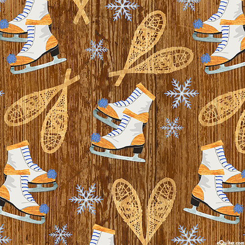Pine Cone Lodge - Ice Skates & Snowshoes - Brown - FLANNEL