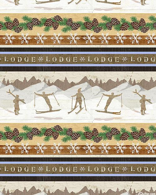 Pine Cone Lodge - Skiing Stripe - Taupe - FLANNEL