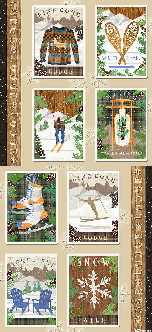 """Pine Cone Lodge - Winter Retreat - 24"""" x 44"""" FLANNEL PANEL"""