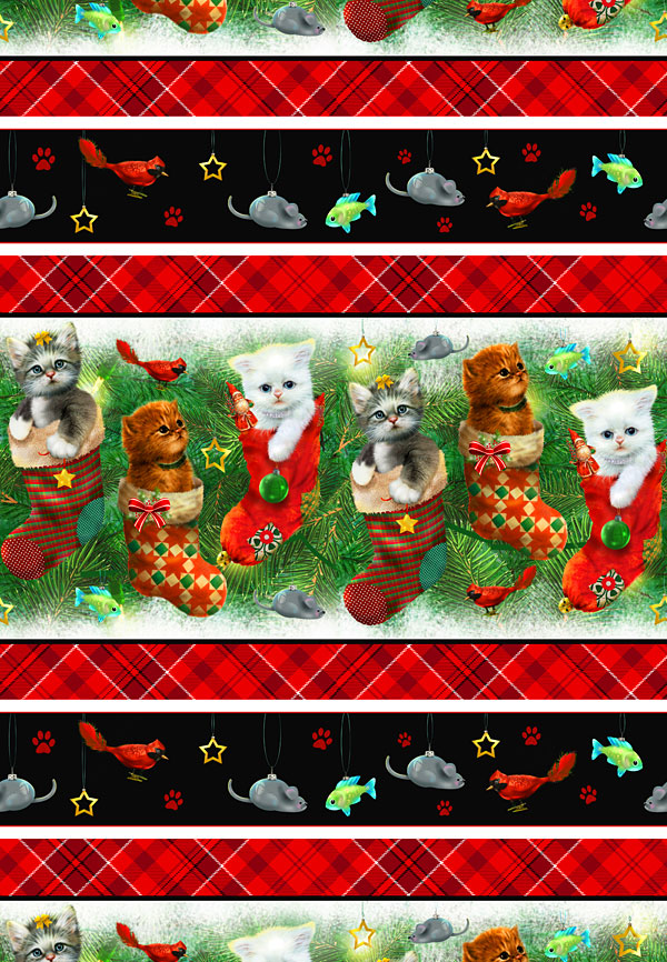 Fireside Kittens - Cats in Stockings Stripe - Multi