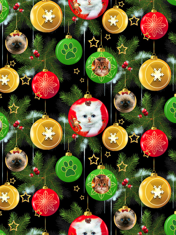 Fireside Kittens - Purr-fect Ornaments - Black