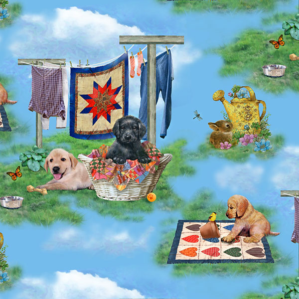 Pups in the Garden - Laundry Day Love - Sky Blue