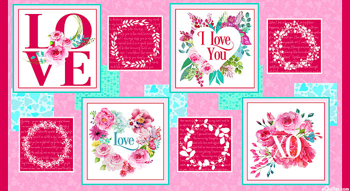 "Love Letters - Valentines & Wreathes - 24"" x 44"" PANEL"