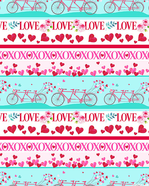 Love Letters - Bicycle for Two Stripe - Aqua