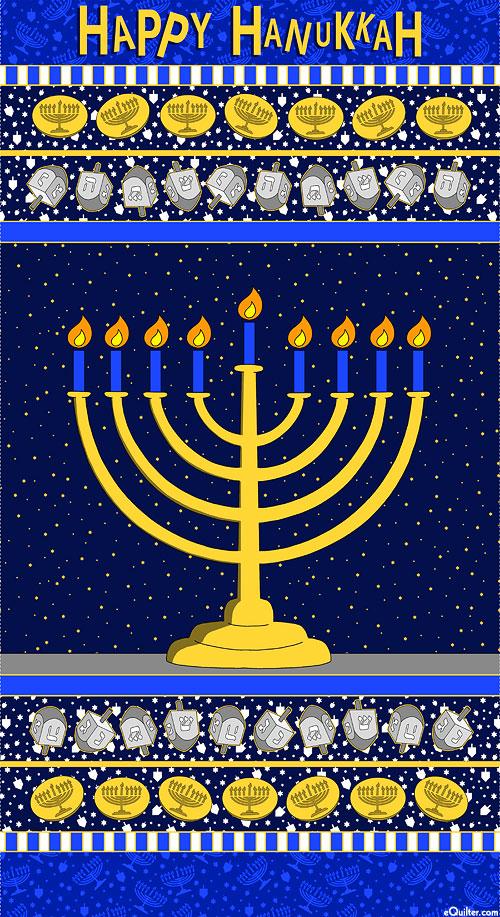"Festival Of Lights - Hanukkah - Ink Blue - 24"" x 44"" PANEL"