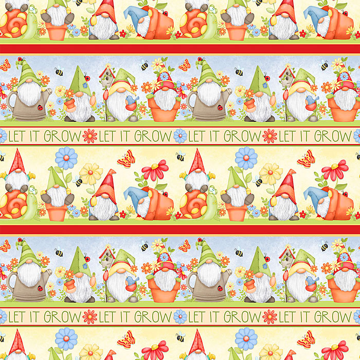 Gnome Is Where Your Garden Grows - Let it Grow Stripe - Yellow