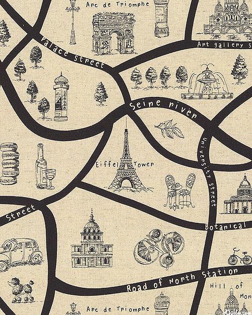 Japanese Import - Paris Map - Natural - COTTON/LINEN