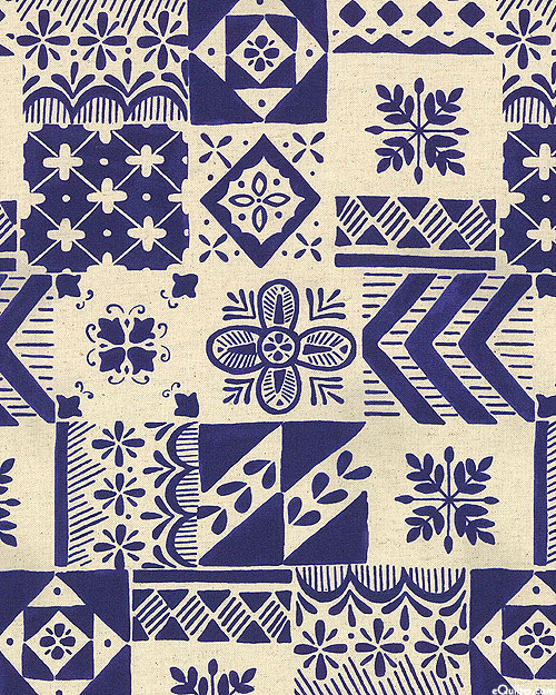 Japanese Import -Tiled Symposium - Midnight Blue - COTTON/LINEN
