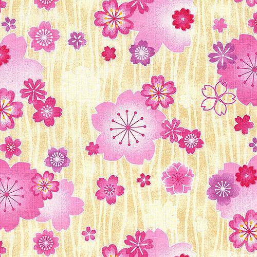 Japanese Import - Fanciful Flowers - Warm Toast - COTTON DOBBY