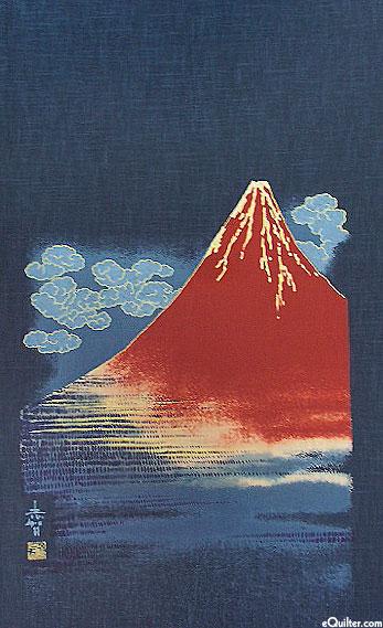 Red Mountain - Noren Panel - Indigo/Gold