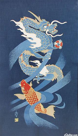 Dragon & Carp - Noren Panel - Indigo/Gold