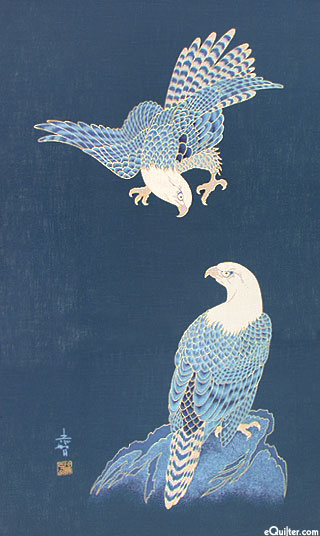Eagle Pair - Noren Panel - Indigo/Gold