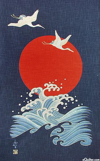 Rising Sun Cranes & Waves - Noren Panel - Indigo/Gold