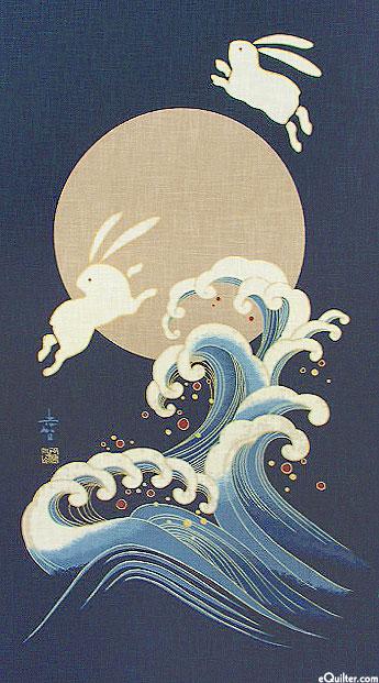 Rabbits Over Moon - Noren Panel - Indigo/Gold