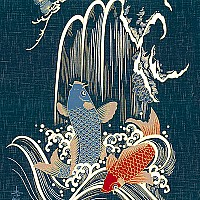 Waterfall Koi Fish - Noren Panel - Indigo/Gold